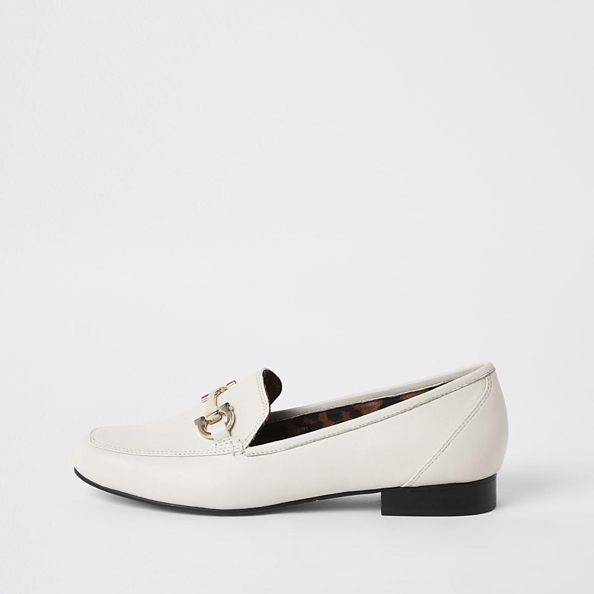 Witte leren loafers met vierkante neus