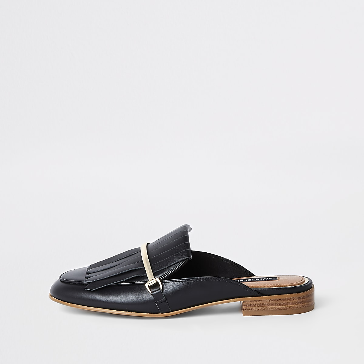 Black fringe leather backless loafers