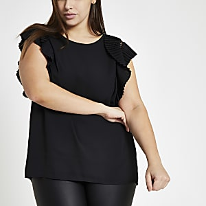 Plus black fan shoulder detail shell top