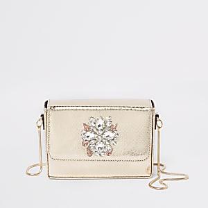 Mini sac bandoulière carré doré orné