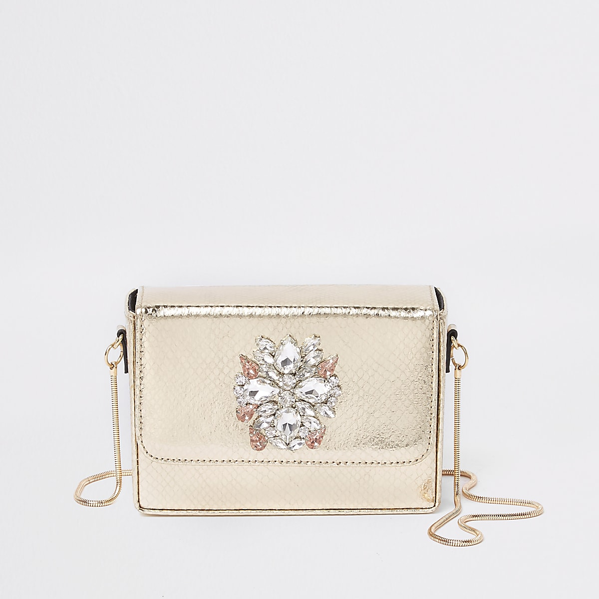 Gold embellished mini boxy cross body bag