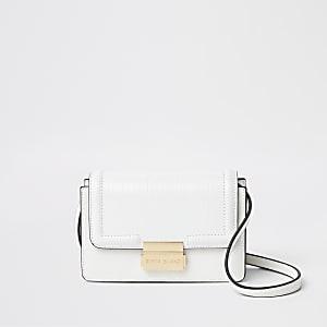 Mini sac à bandoulière motif croco en relief blanc