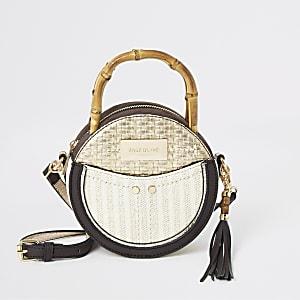 Beige bamboo handle circle cross body bag
