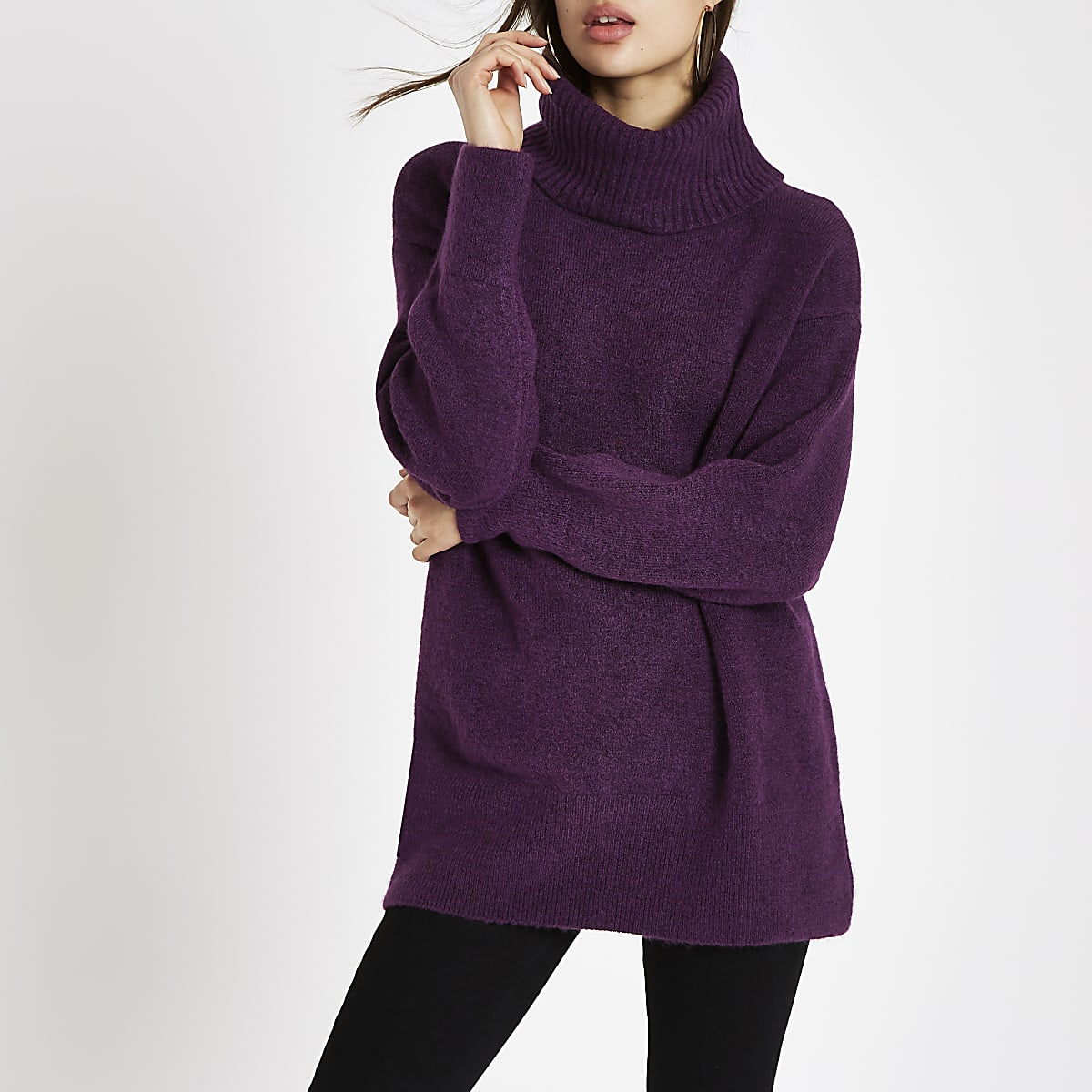 Purple roll neck knit sweater