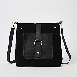 Black leather hoop cross body bag