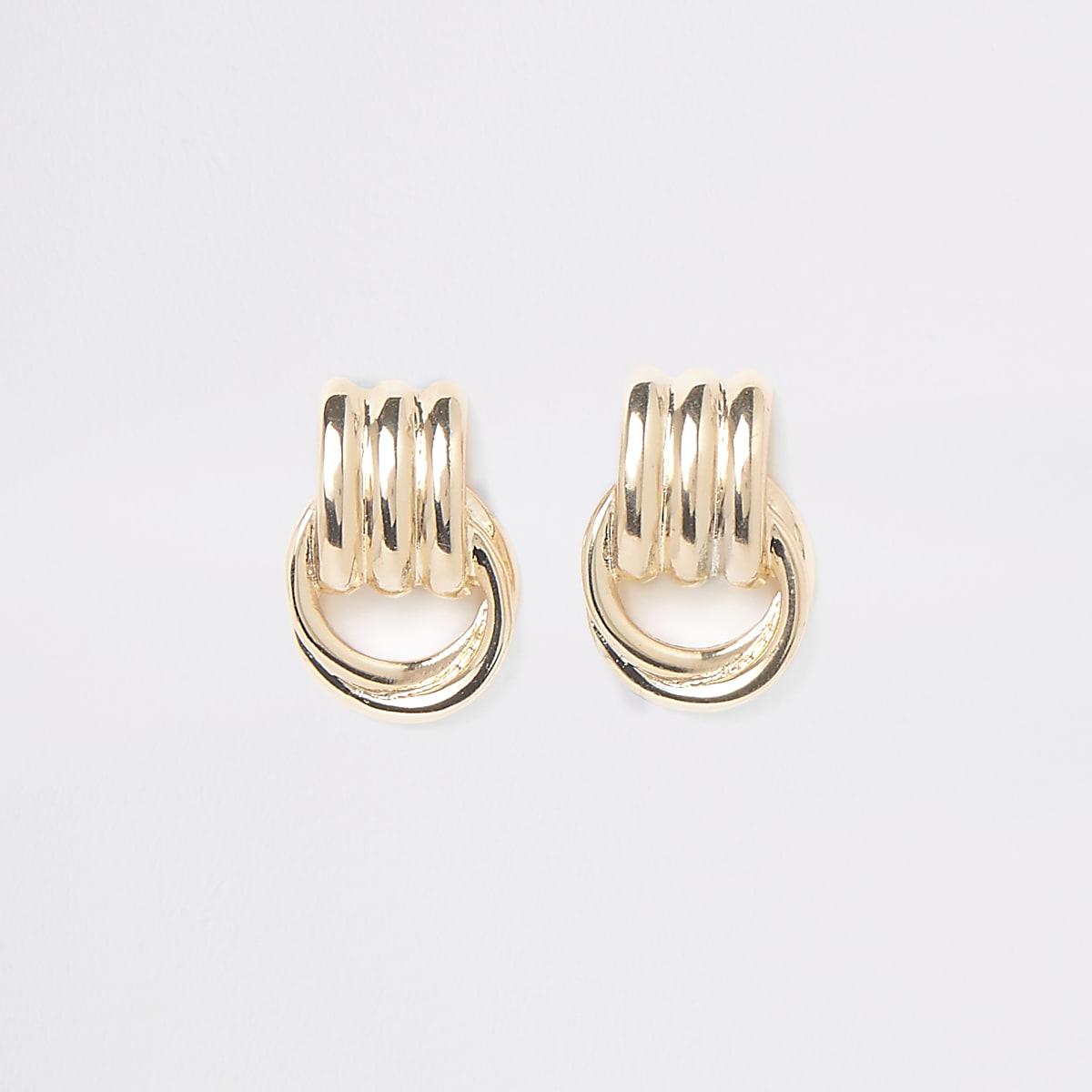 Gold colour doorknocker stud earrings