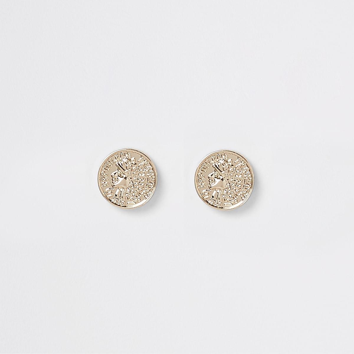 Clous d'oreilles pièces dorés