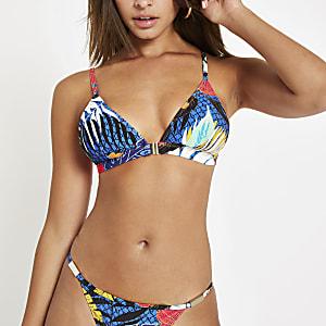 Blue floral clip front triangle bikini top