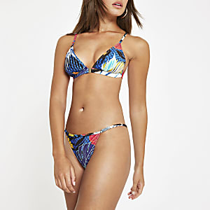 Blaue, geblümte Bikinihose mit hohem Bund