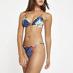 Bas de bikini échancré à fleurs bleu