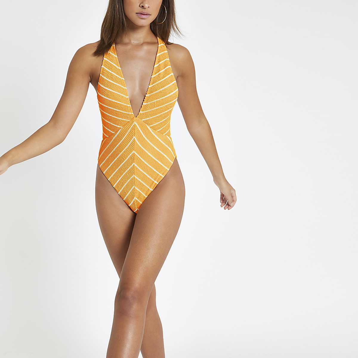 Orange stripe textured plunge swimsuit
