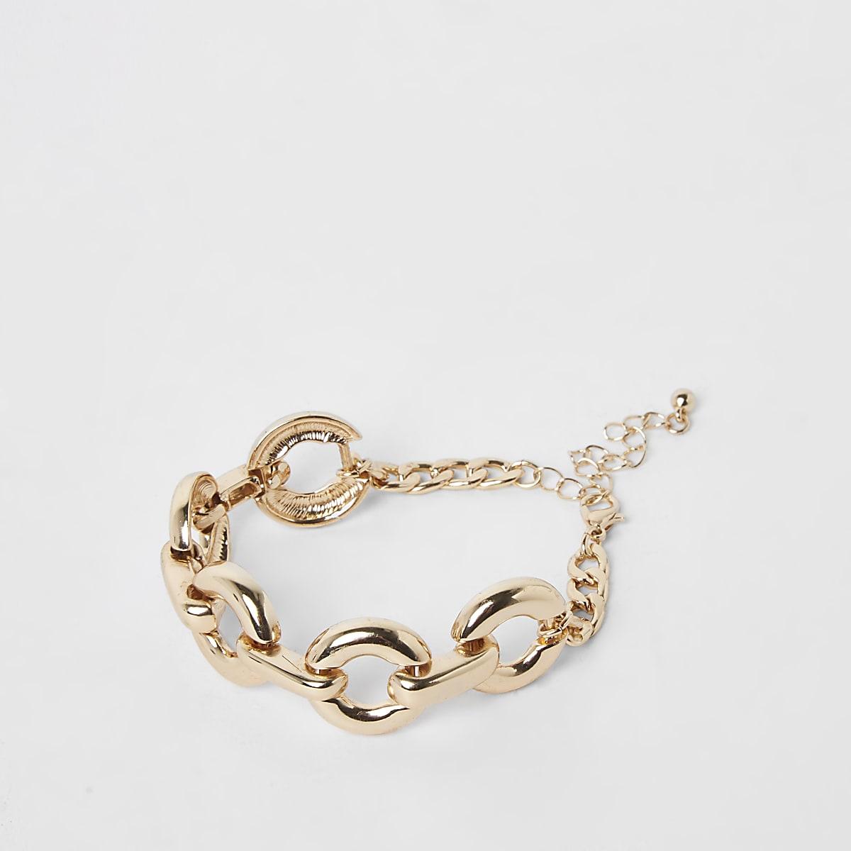 Gold color curb chain bracelet