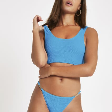 Blue textured vest bikini top