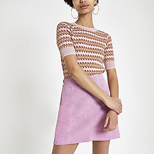 Roze jacquard T-shirt met print