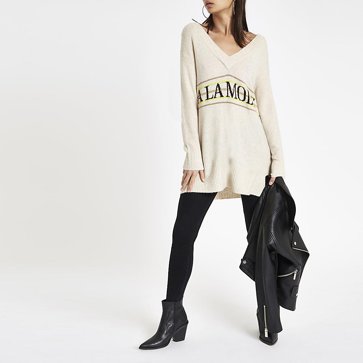 Beige 'A la mode' v neck jumper