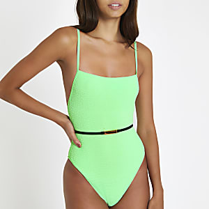 Bright green textured belted swimsuit