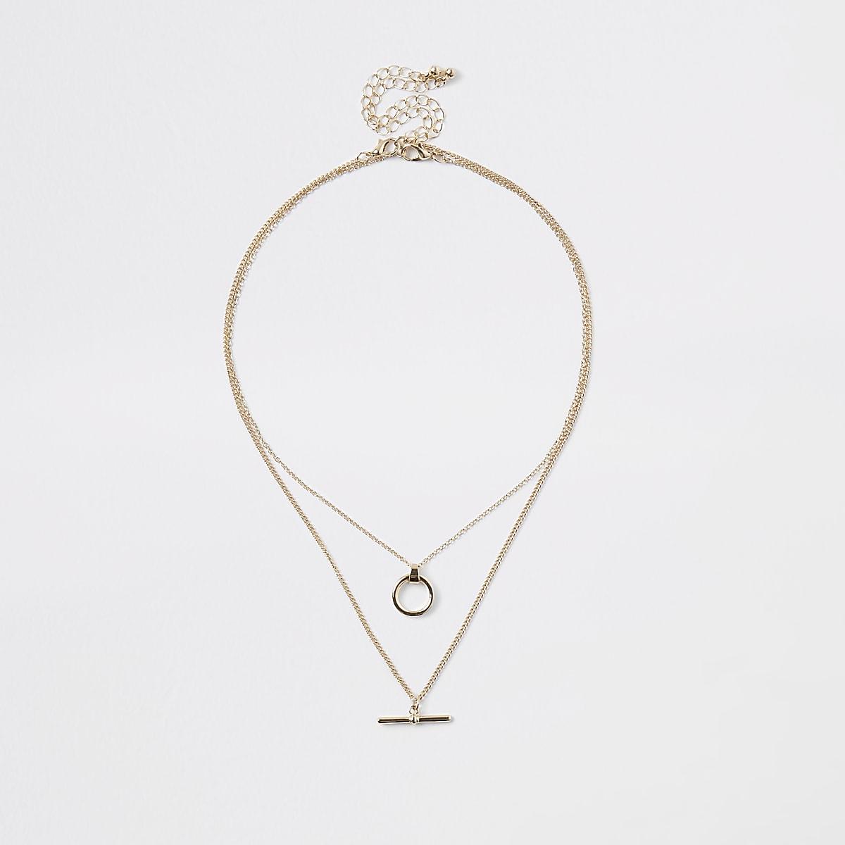 Gold colour T bar necklace multipack