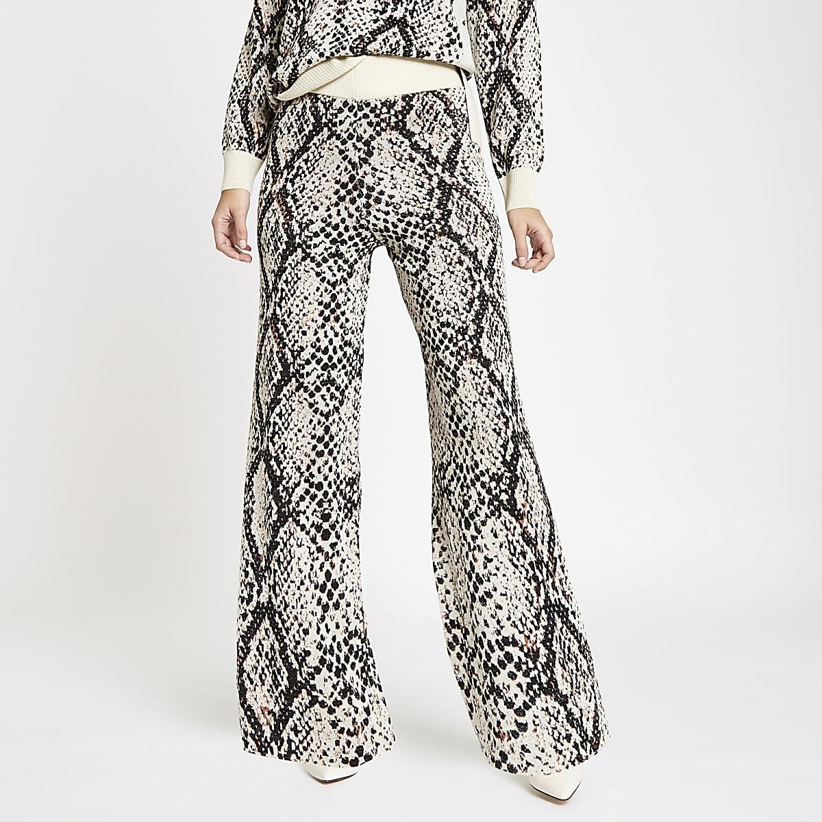 Cream knit snake print wide leg pants