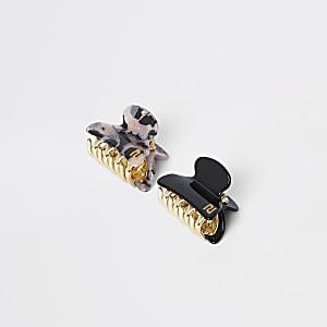Schwarze Mini-Haarklammern, Set