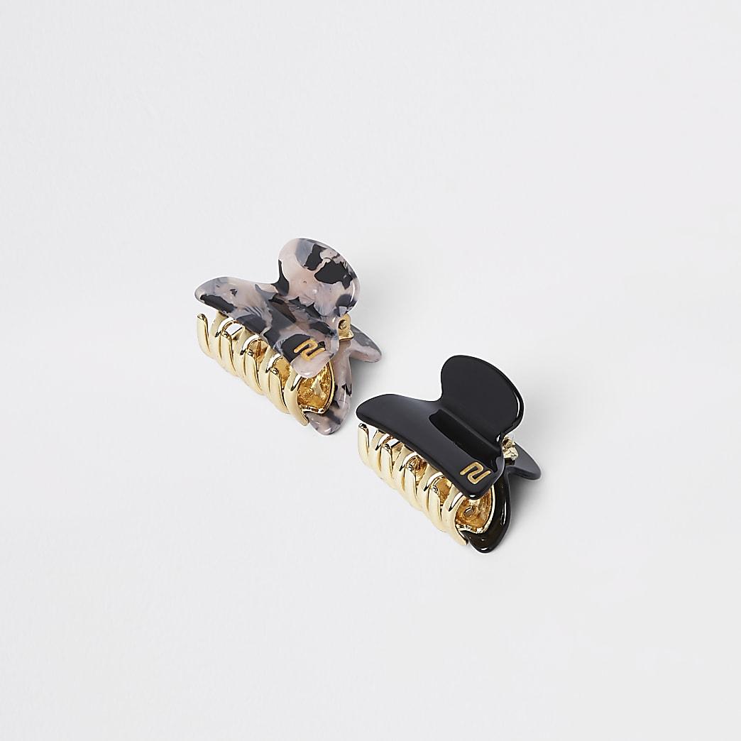 Lot de petits clips banane noirs
