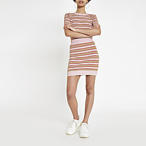 Pink printed jacquard mini skirt