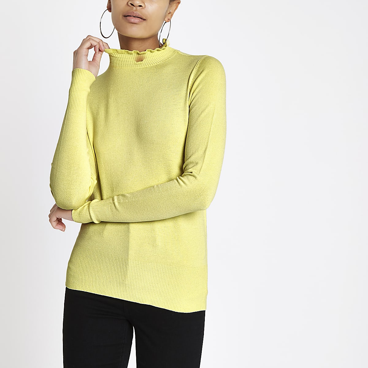 Bright yellow high frill neck top