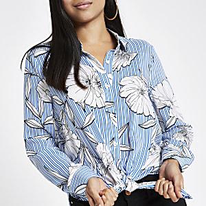 Petite – Chemise à rayures et fleurs nouée sur le devant