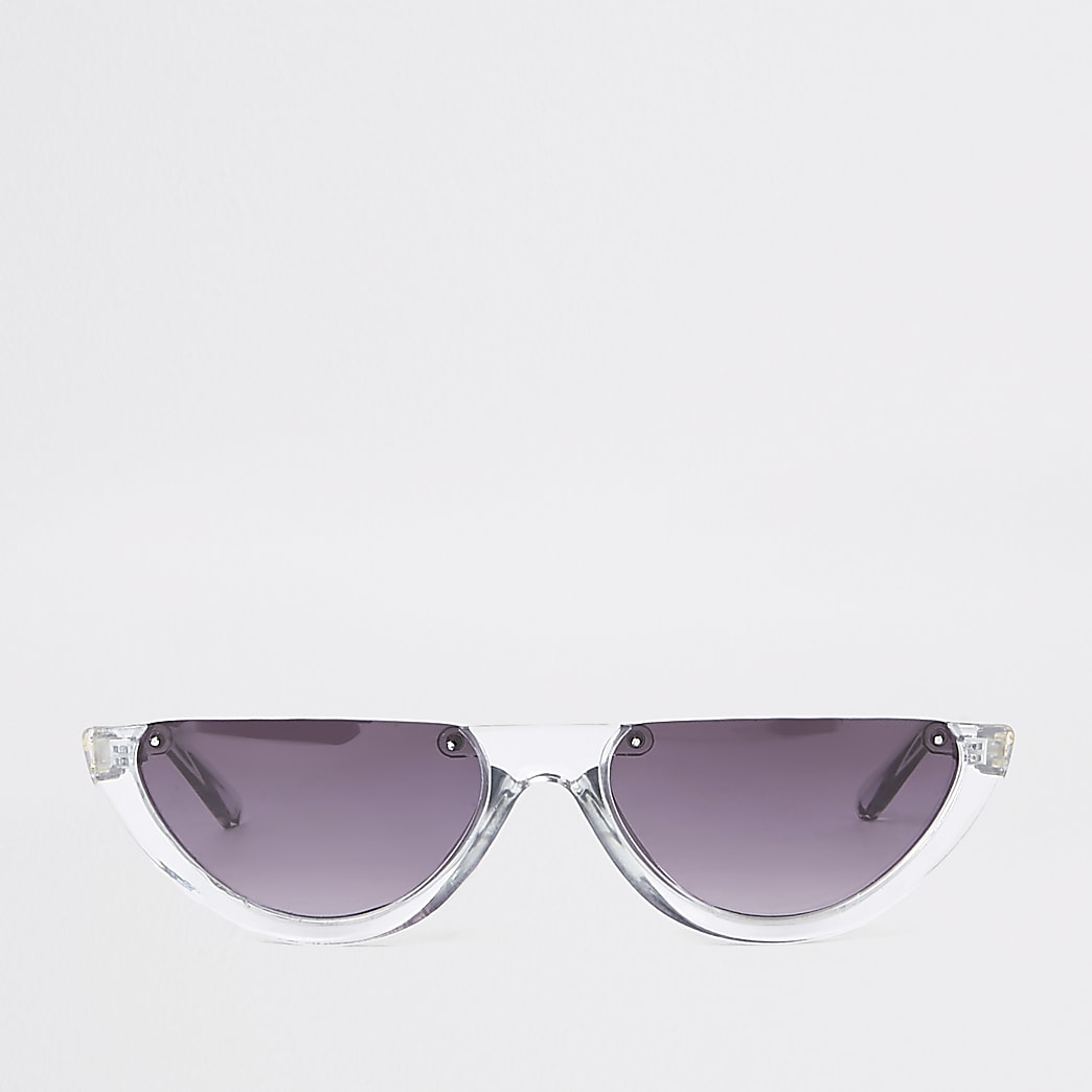 Grey smoke lens half-frame sunglasses