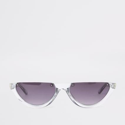 Grey smoke lens half-frame sunglasses
