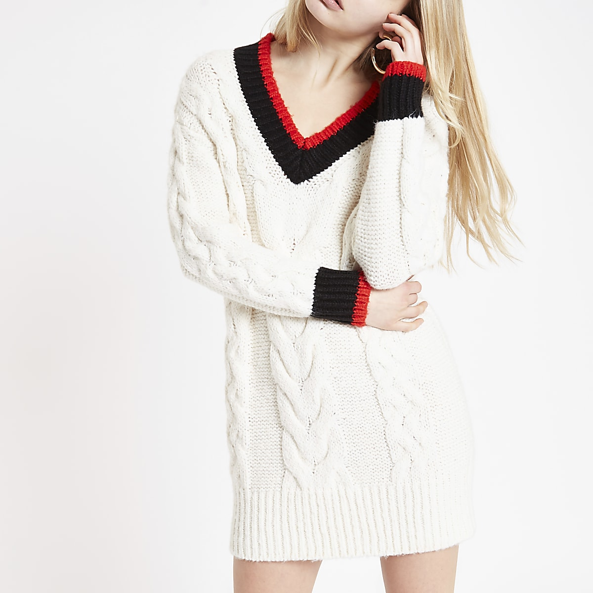 Cream V neck cable knit sweater dress