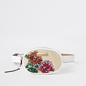 White floral embroidered circle belt bum bag