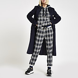Black check contrast joggers