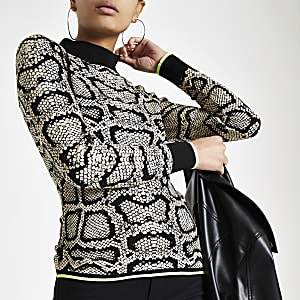 5a3780ec969d Bright pink leopard print high neck knit top - Knit Tops - Knitwear ...