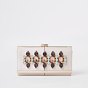 Pink gem embellished clip top purse