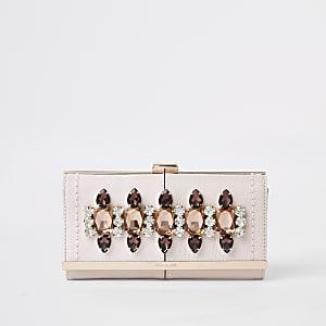 Pink gem embellished clip top purse