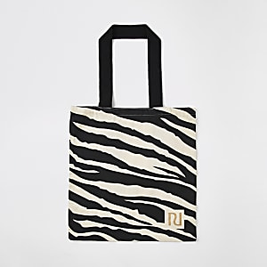 Beige zebra print bag for life