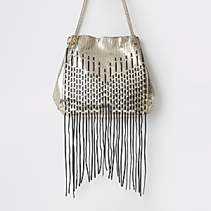 Gold leather tassel slouch bag