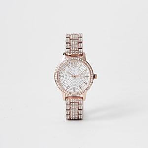 Rose gold rhinestone encrusted watch