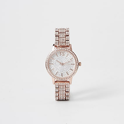 Rose gold colour diamante encrusted watch