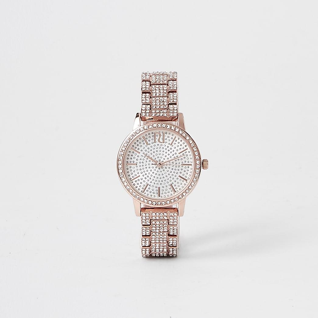 Rose gold colour diamante encrusted watch