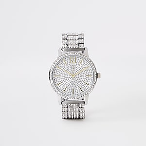 Silver rhinestone pave chain link watch