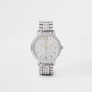 Zilverkleurig horloge met ketting bezet met diamantjes