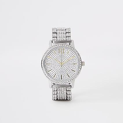 Silver colour diamante pave chain link watch