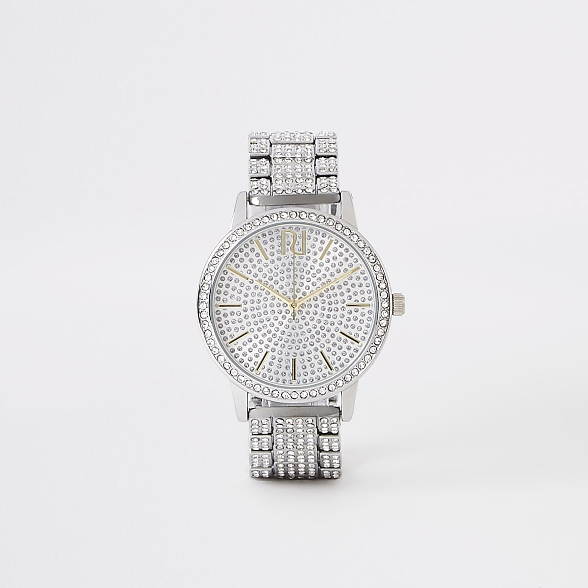 Silver diamante pave chain link watch