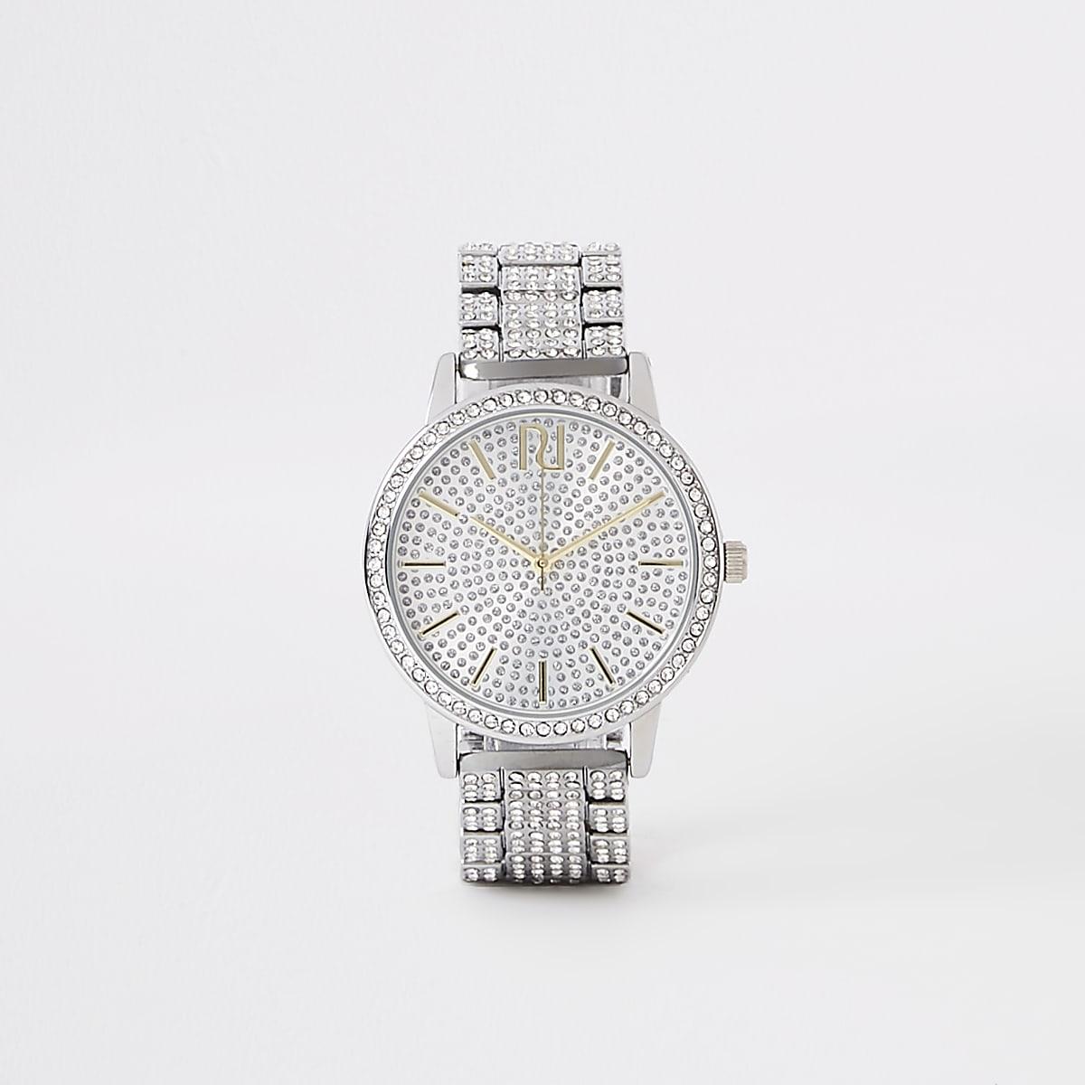 Silver rhinestone pave chain link watch