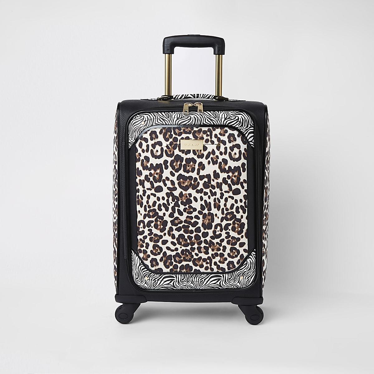 Black animal print four wheel suitcase