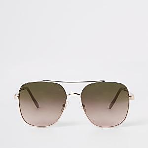 Goudkleurige pilotenzonnebril met vierkante glazen