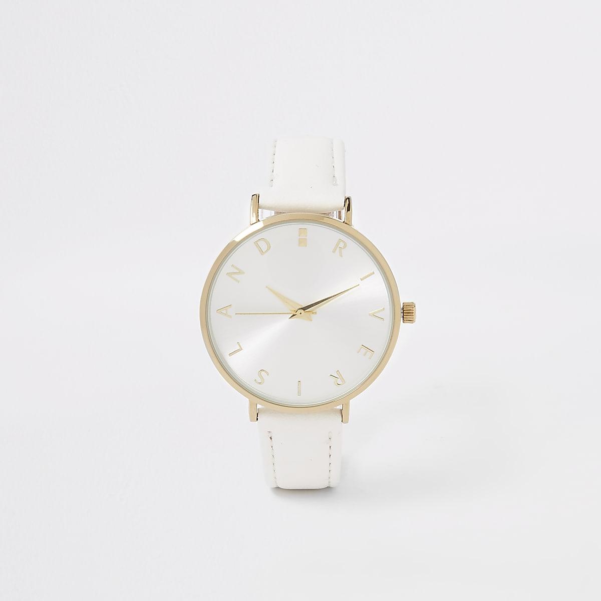 White gold colour RI face watch