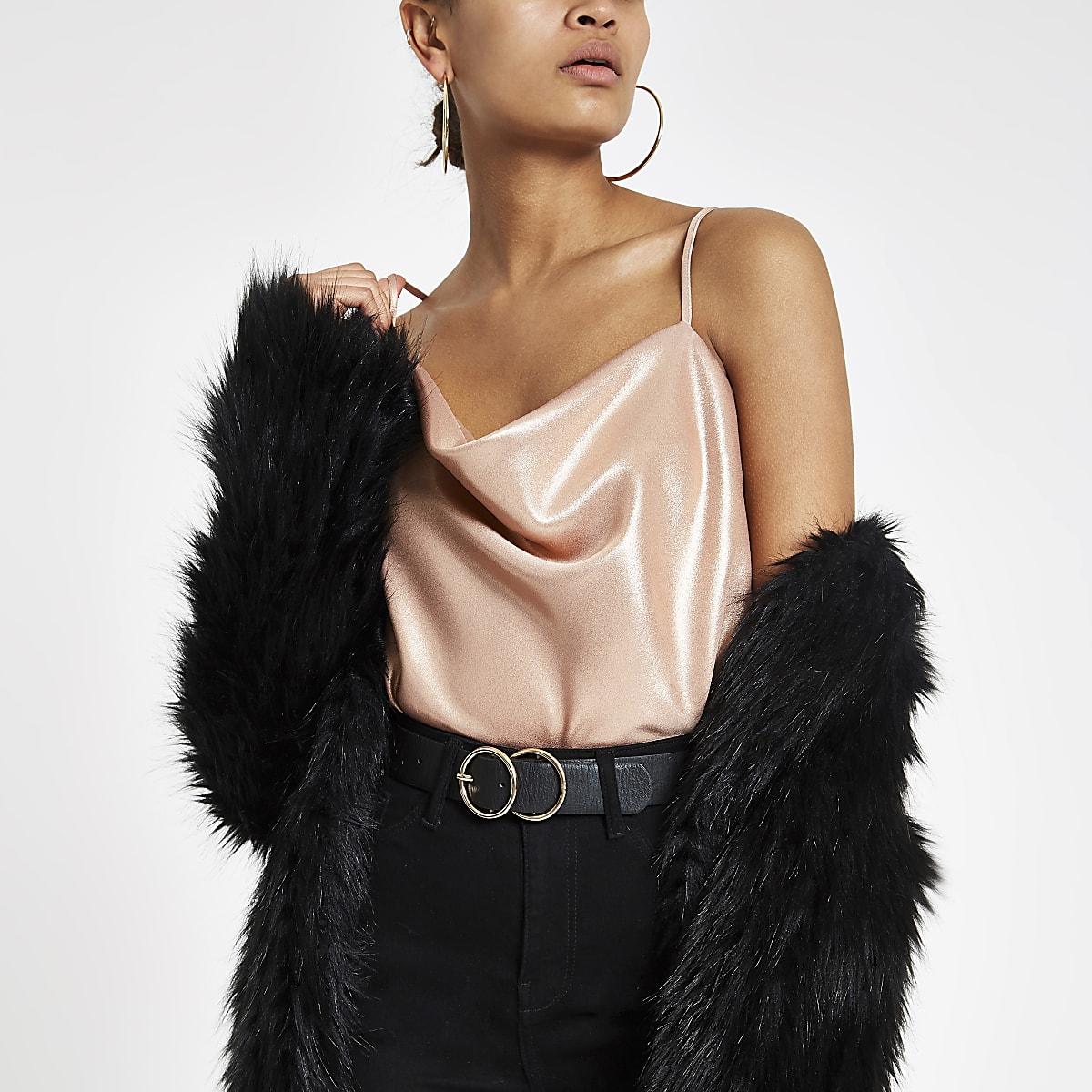 Pink metallic cowl neck cami top