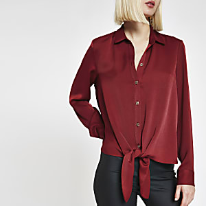 Rood ruimvallend overhemd met strik voor
